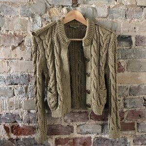 BURBERRY Gold Knit Cardigan Sweater
